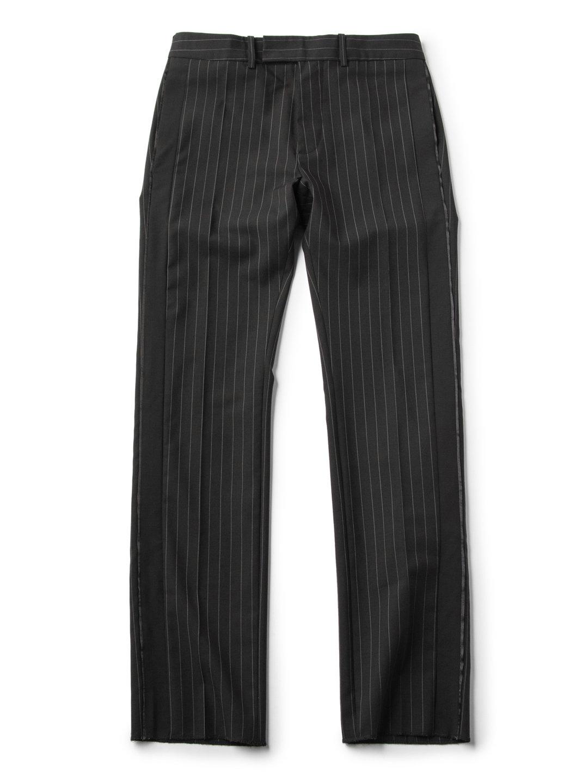 【70%OFF】ストライプ サイドライン センタープレス パンツ ブラック 50 ファッション > メンズウエア~~パンツ