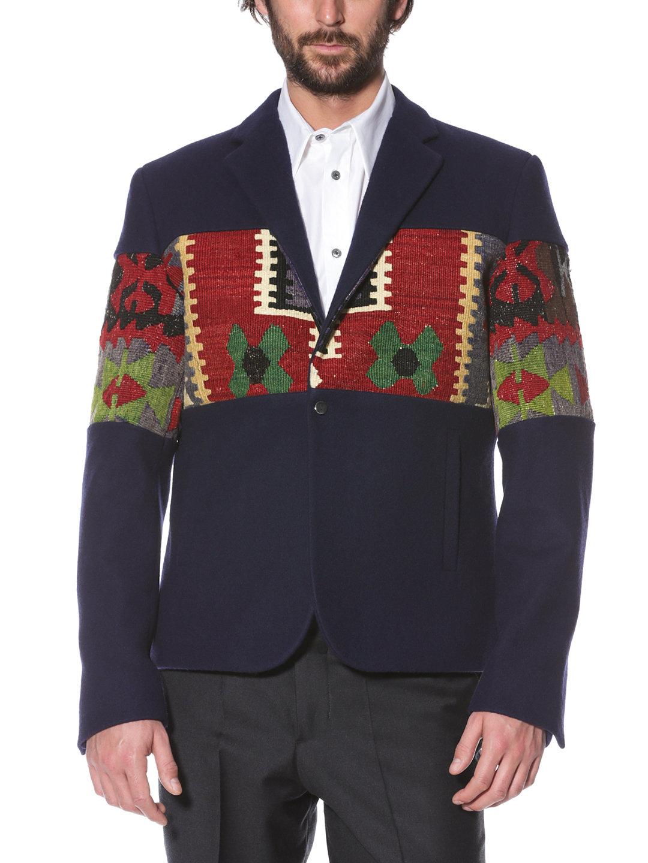 【80%OFF】ANADOLU キリム柄切替 ジャケット ネイビーマルチ 46 ファッション > メンズウエア~~ジャケット