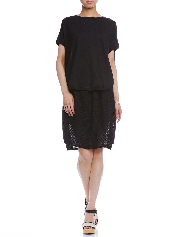 【60%OFF】Fanny ドルマンスリーブトップ & ギャザースカート セット ブラック s ファッション > レディースウエア~~その他トップス