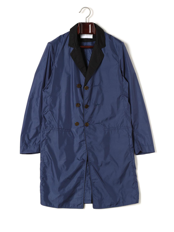 【70%OFF】異素材切替 ダブルブレステッド コート ブルー 46 ファッション > メンズウエア~~ジャケット