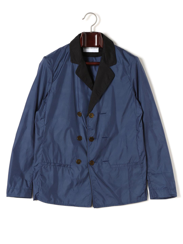 【70%OFF】異素材切替 ダブルブレステッド テーラードジャケット ブルー 44 ファッション > メンズウエア~~ジャケット
