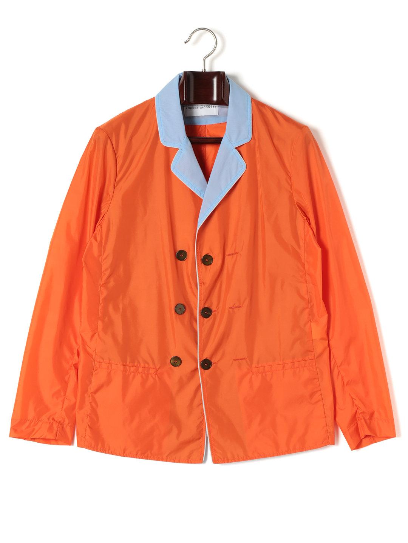 【70%OFF】異素材切替 ダブルブレステッド テーラードジャケット オレンジ 46 ファッション > メンズウエア~~ジャケット