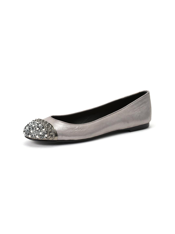 【70%OFF】シャイニーレザー ビジュー切替 フラットパンプス ロジウム 42 ファッション > 靴~~レディースシューズ