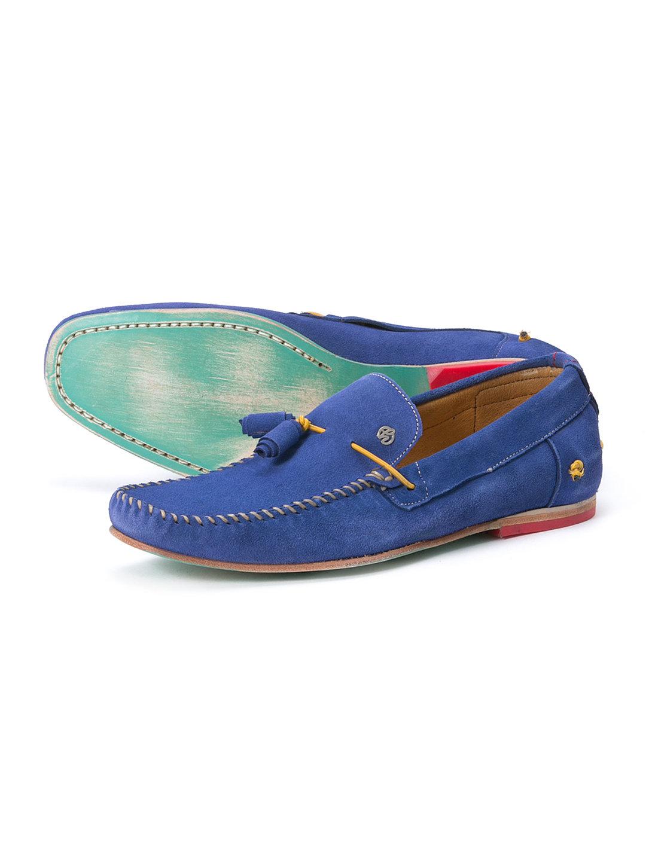 【58%OFF】GAMUZA スエード デザインタッセル ローファー ブルー 26 ファッション > 靴~~メンズシューズ