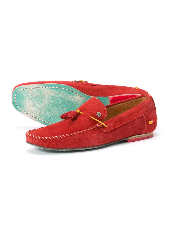 【58%OFF】GAMUZA スエード デザインタッセル ローファー レッド 26 ファッション > 靴~~メンズシューズ