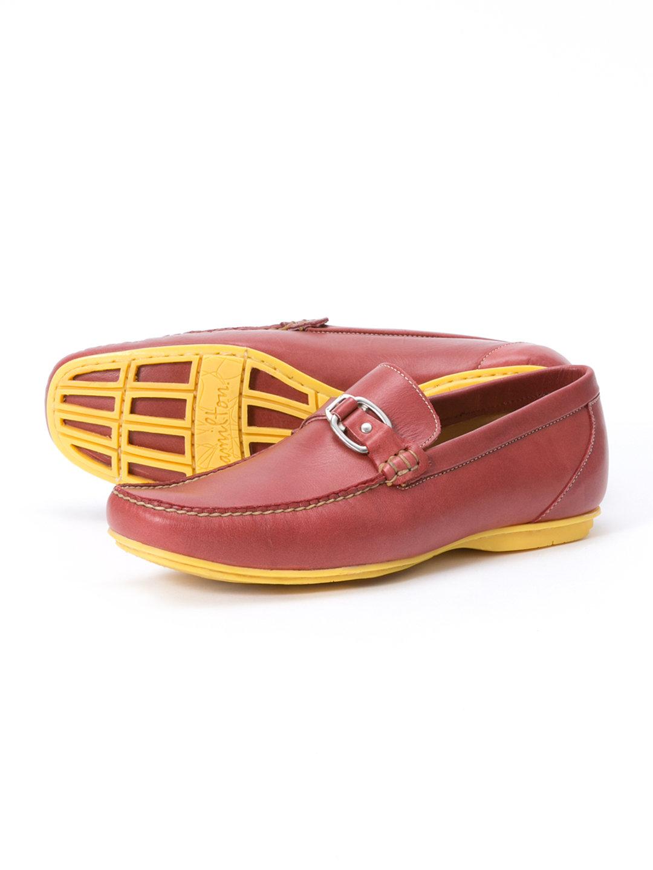 【58%OFF】PORTON レザー ストラップ ローファー レッド 27 ファッション > 靴~~メンズシューズ