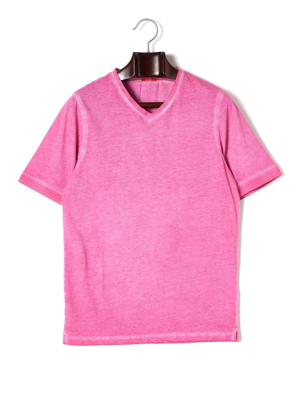 【80%OFF】Vネック 半袖Tシャツ フューシャ s ファッション > メンズウエア~~その他トップス