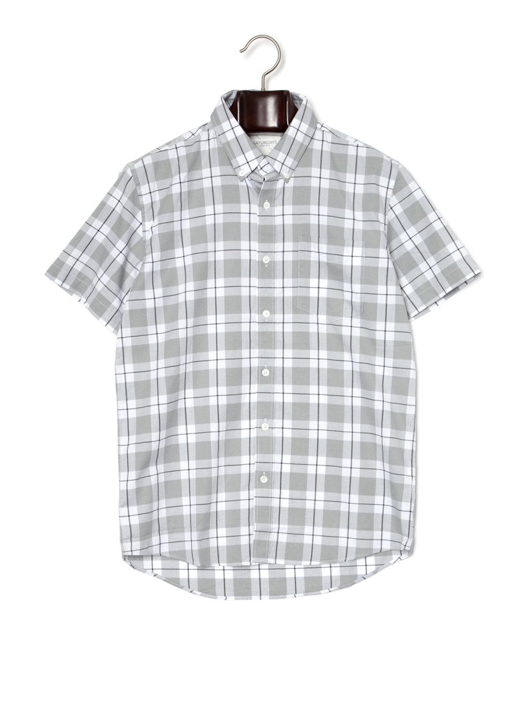 【80%OFF】ESQUINA オックスフォード チェック ボタンダウン 半袖シャツ ホワイト xs ファッション > メンズウエア~~その他トップス