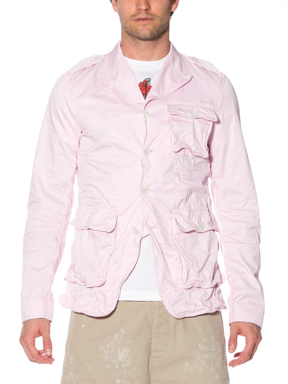 【50%OFF】ワッシャー加工 ポケットデザイン ジャケット ピンク 50 ファッション > メンズウエア~~ジャケット