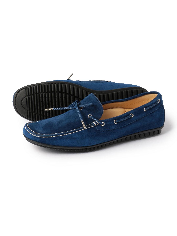 【50%OFF】ベロアレザー ドライビングシューズ ブルー 41 ファッション > 靴~~メンズシューズ