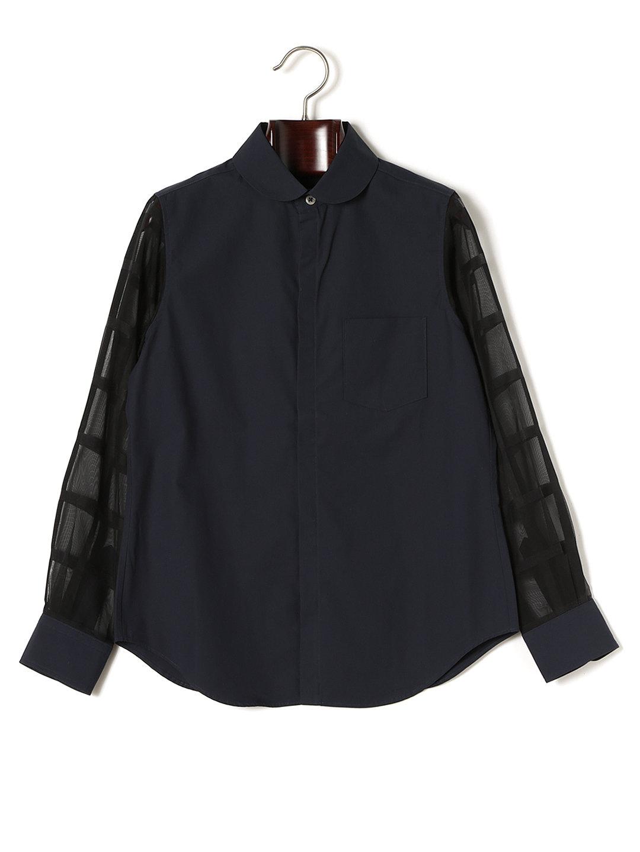 【50%OFF】シースルーチェックスリーブ ラウンドカラー 比翼シャツ ネイビー 1 ファッション > レディースウエア~~その他トップス