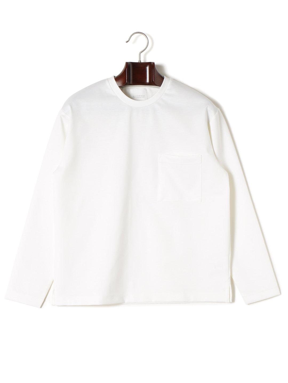 【64%OFF】ビッグシルエット ポケット クルーネック 長袖Tシャツ ホワイト 40 ファッション > メンズウエア~~その他トップス