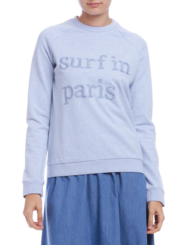 【62%OFF】コットンフリース スウェット SURF IN PARIS 刺しゅう スカイブルー l ファッション > レディースウエア~~その他トップス
