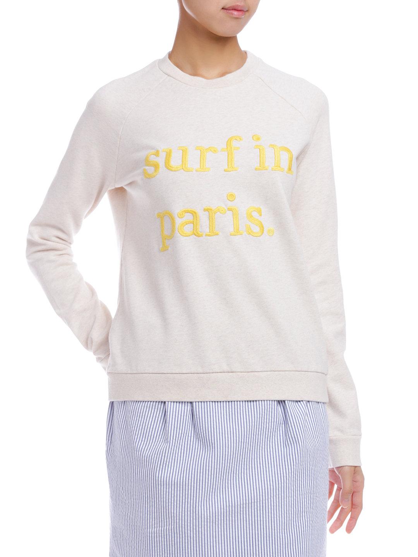 【62%OFF】コットンフリース スウェット SURF IN PARIS 刺しゅう ベージュ l ファッション > レディースウエア~~その他トップス