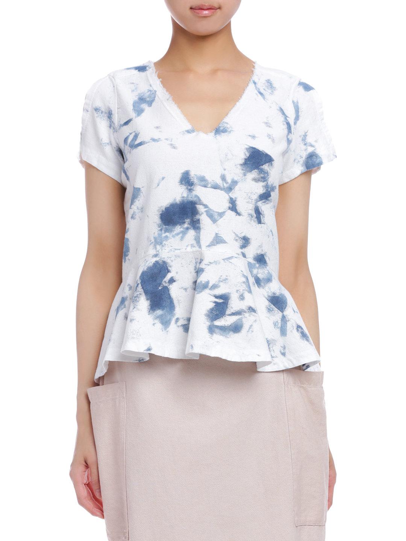 【80%OFF】SAMANTHA ペイント風柄 ペプラム デザイントップ ブルー/ホワイト xs ファッション > レディースウエア~~その他トップス