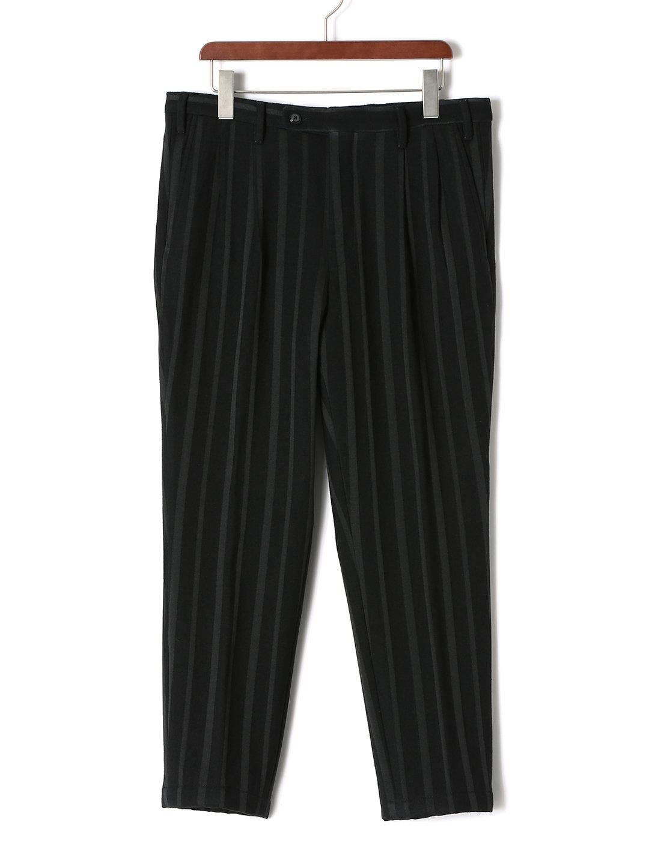 【70%OFF】ストライプ テーパードパンツ ブラックxグレー 46 ファッション > メンズウエア~~パンツ