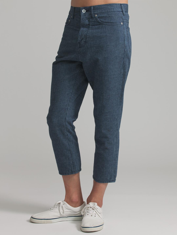 【65%OFF】Pack ストライプ クロップド サルエル デニム ネイビー 29 ファッション > メンズウエア~~パンツ