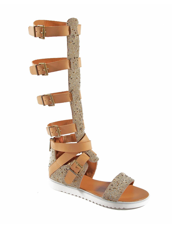 【74%OFF】レザー グリッター グラディエーターサンダル クリスタル/タン 8 ファッション > 靴~~レディースシューズ