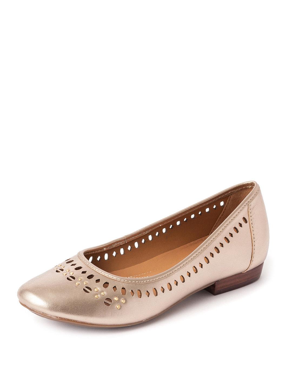 【55%OFF】Henderson Hot シャイニーレザー スタッズ フラットパンプス ゴールド 50 ファッション > 靴~~レディースシューズ