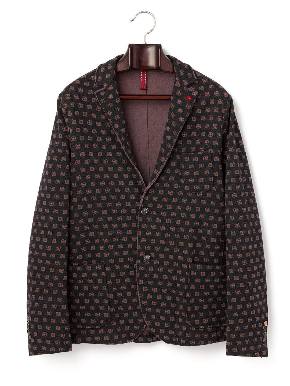 【50%OFF】小紋柄 ノッチドラペル テーラードジャケット ダークグレー 50 ファッション > メンズウエア~~ジャケット