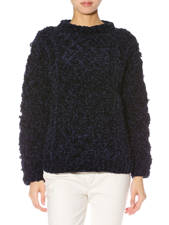 【70%OFF】NAILS モールニット 編み柄 長袖 トップ ネイビー 0 ファッション > レディースウエア~~その他トップス
