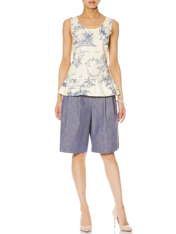 【76%OFF】タック ハーフパンツ ブルー 38 ファッション > レディースウエア~~パンツ~~ショートパンツ