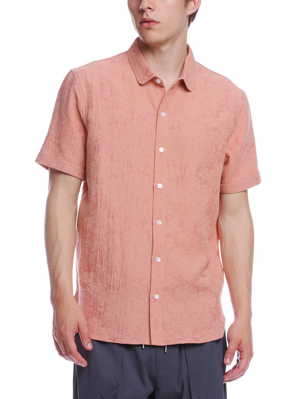 【70%OFF】CONNOR リネン混 テクスチャード ショートカラー 半袖シャツ クレイ m ファッション > メンズウエア~~その他トップス