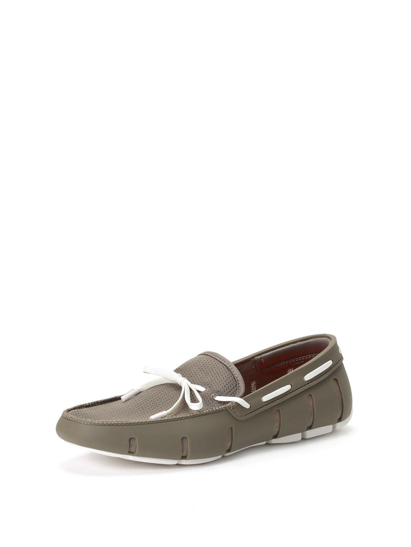【65%OFF】ラバーxファブリック デッキシューズ カーキxホワイト 6 ファッション > 靴~~メンズシューズ