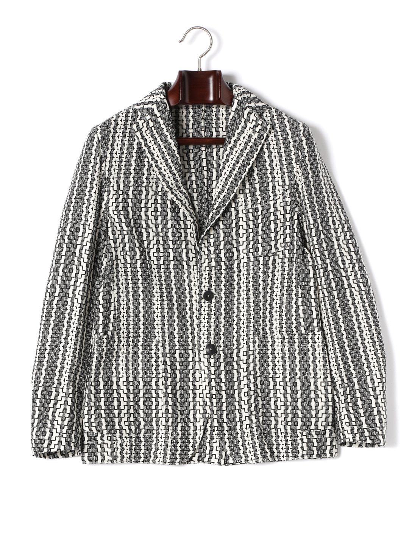 【50%OFF】ストライプ 幾何学柄 テーラードジャケット ブラックxベージュ 50 ファッション > メンズウエア~~スーツ