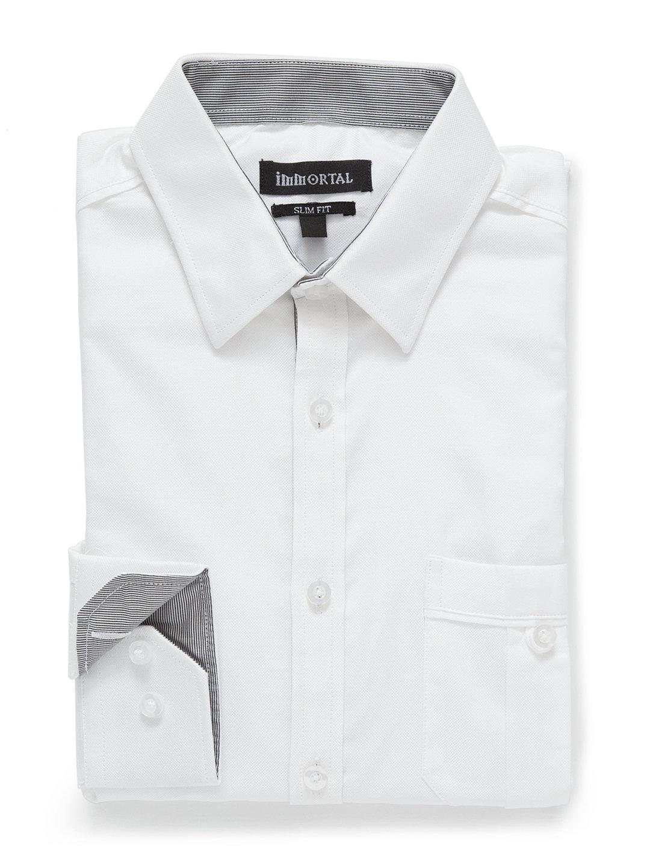【70%OFF】配色 ショートカラー 長袖シャツ ホワイト s ファッション > メンズウエア~~スーツ