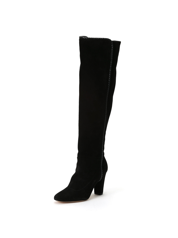 【75%OFF】ゴートスエード パイピング ニーハイ ブーツ ブラック 36.5 ファッション > 靴~~レディースシューズ