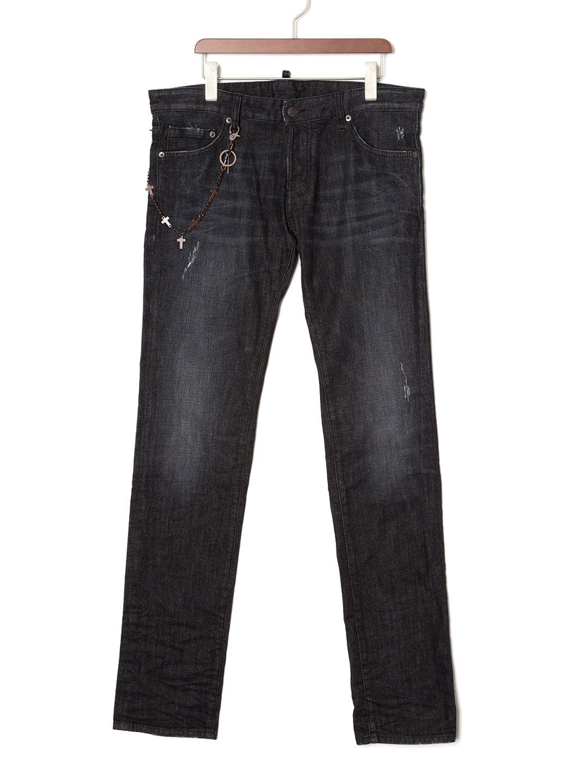 【50%OFF】チェーン付 ダメージウォッシュ スリム テーパードデニム スレート 50 ファッション > メンズウエア~~パンツ