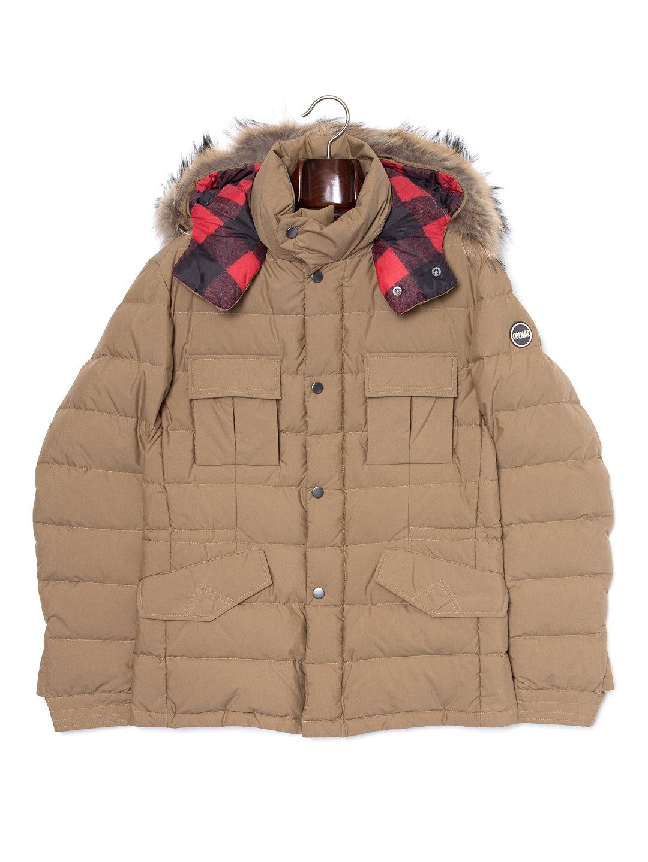 【50%OFF】ファー フード付 スタンドカラー ダウンジャケット モカ 50 ファッション > メンズウエア~~ジャケット