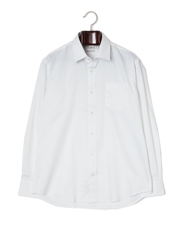 【70%OFF】セルフストライプ 胸ポケット 長袖シャツ ホワイトセルフストライプ 40 ファッション > メンズウエア~~スーツ