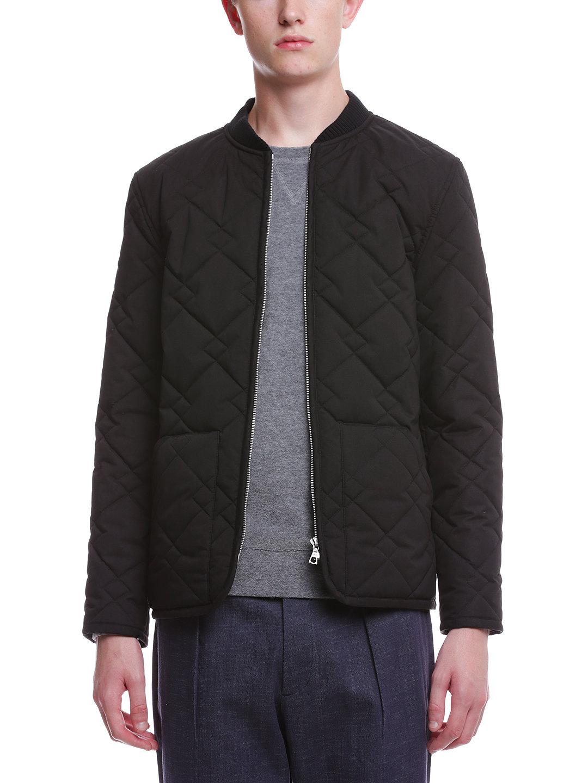 【50%OFF】幾何学キルティング ジップアップ ブルゾン ブラック 2 ファッション > メンズウエア~~ジャケット