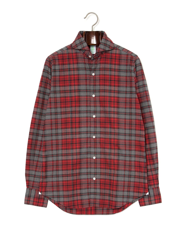 【60%OFF】Finamore チェック ホリゾンタルカラー 長袖シャツ グレー s ファッション > メンズウエア~~その他トップス