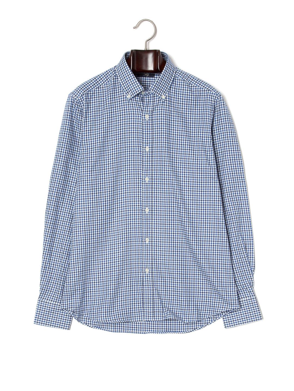 【70%OFF】チェック 長袖 ボタンダウンシャツ ブルー 41 ファッション > メンズウエア~~スーツ