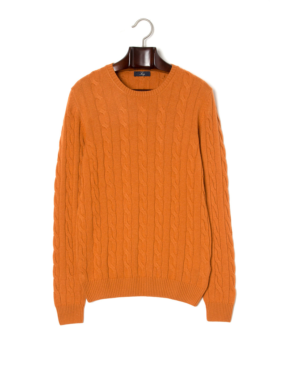 【70%OFF】カシミヤ混 ケーブル編み クルーネック 長袖ニット オレンジ 44 ファッション > メンズウエア~~その他トップス