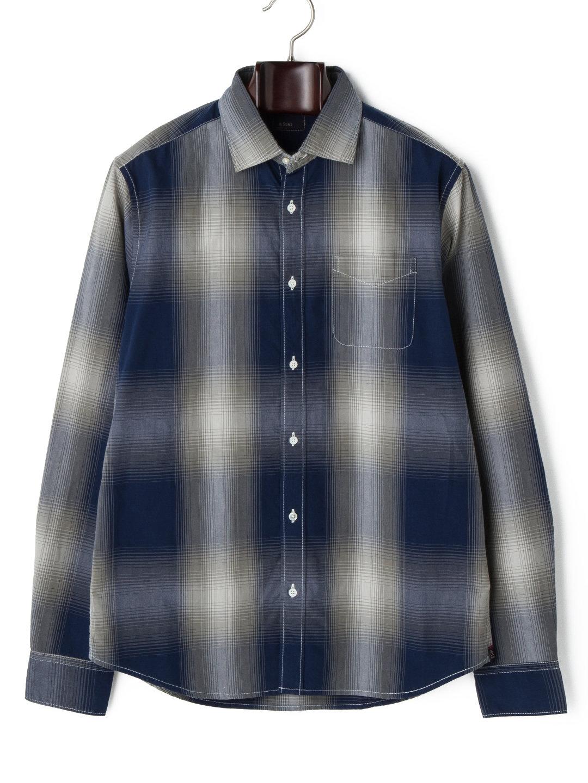 【65%OFF】80's 2 PLY 先染め チェック スプレッドカラー 長袖シャツ ブルー s ファッション > メンズウエア~~その他トップス