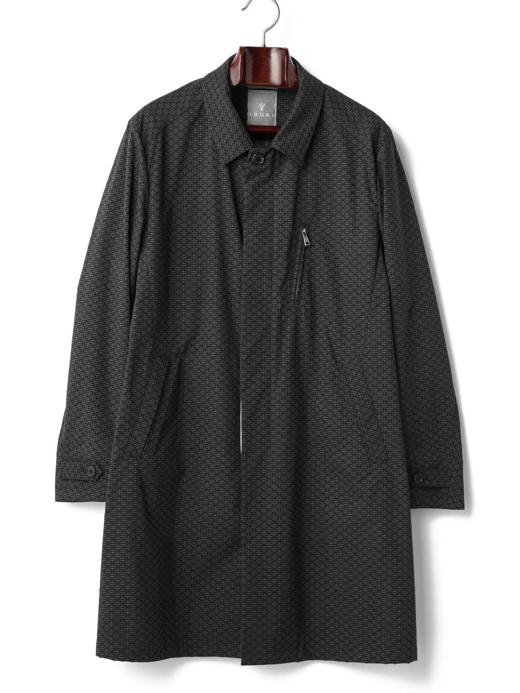 【80%OFF】JUNIPER 幾何学柄 ステンカラー 比翼 コート ブラック m-a ファッション > メンズウエア~~ジャケット