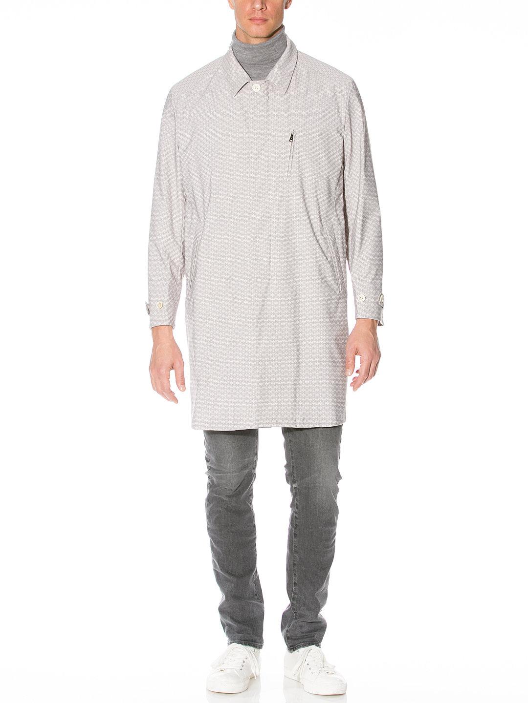 【80%OFF】JUNIPER 幾何学柄 ステンカラー 比翼 コート グレー l-b ファッション > メンズウエア~~ジャケット