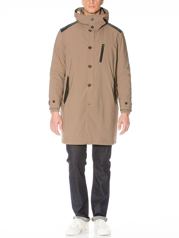【80%OFF】BIRCH フード付 中綿入 切替 ステンカラー コート ベージュ m-b ファッション > メンズウエア~~ジャケット