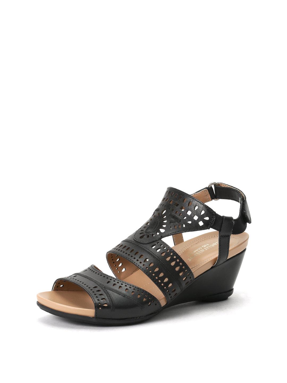 【52%OFF】Shaw カットワーク サンダル ブラック 6 ファッション > 靴~~レディースシューズ