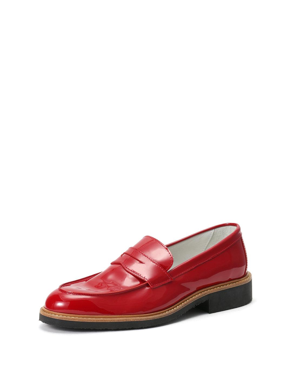 【63%OFF】エナメルレザー ペニーローファー レッド 37 ファッション > 靴~~レディースシューズ