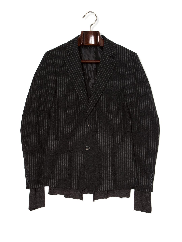 【70%OFF】レイヤード風 ストライプ テーラードジャケット ブラック 46 ファッション > メンズウエア~~スーツ