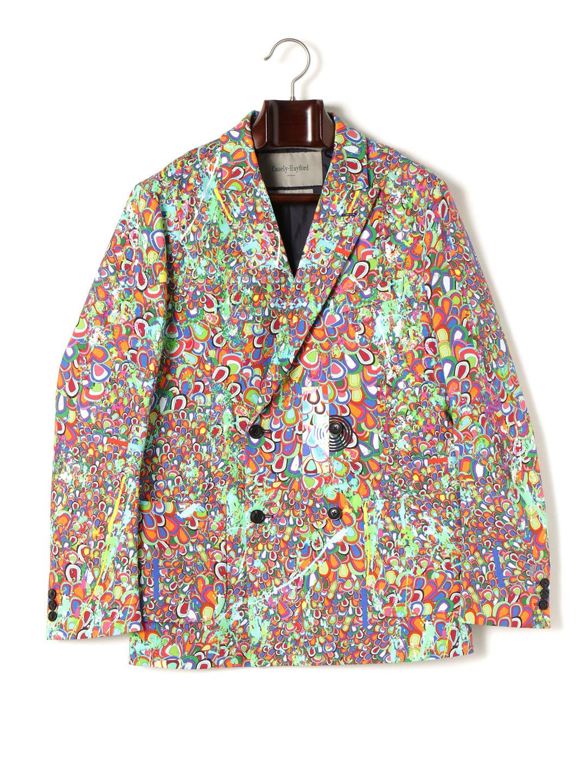【70%OFF】サイケデリック柄 ピークドラペル ダブル テーラードジャケット サイケデリックプリント 38 ファッション > メンズウエア~~スーツ