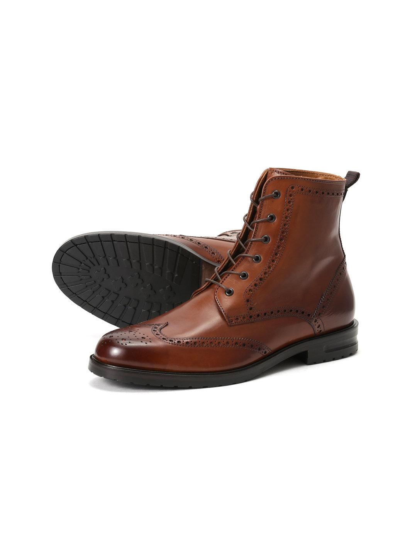 【45%OFF】レザー 外羽根式 ウイングチップ ブーツ クオイオ 40 ファッション > 靴~~メンズシューズ