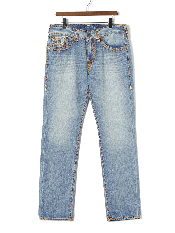 【70%OFF】GENO NO FLAP SUPER T ウォッシュ加工 ステッチ デニム ブルー 33 ファッション > メンズウエア~~パンツ