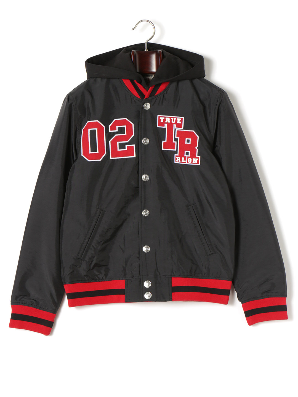 【70%OFF】VARSITY TIGER フード付 中わた入りジャケット ブラック s ファッション > メンズウエア~~ジャケット