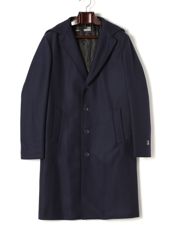 【67%OFF】中綿入 フーデッド ロングコート ネイビー 46 ファッション > メンズウエア~~ジャケット